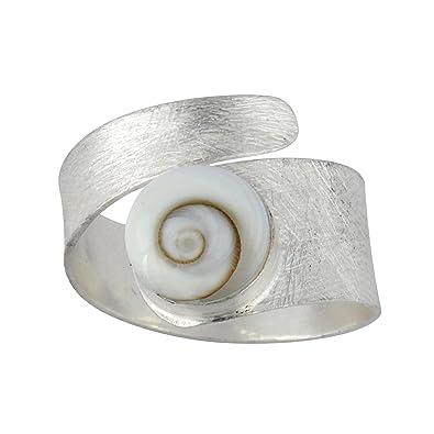 Silverly Women's .925 Sterling Silver White Shiva Eye Shell Spiral Swirl Satin Adjustable Ring 0oA7ssmVXw