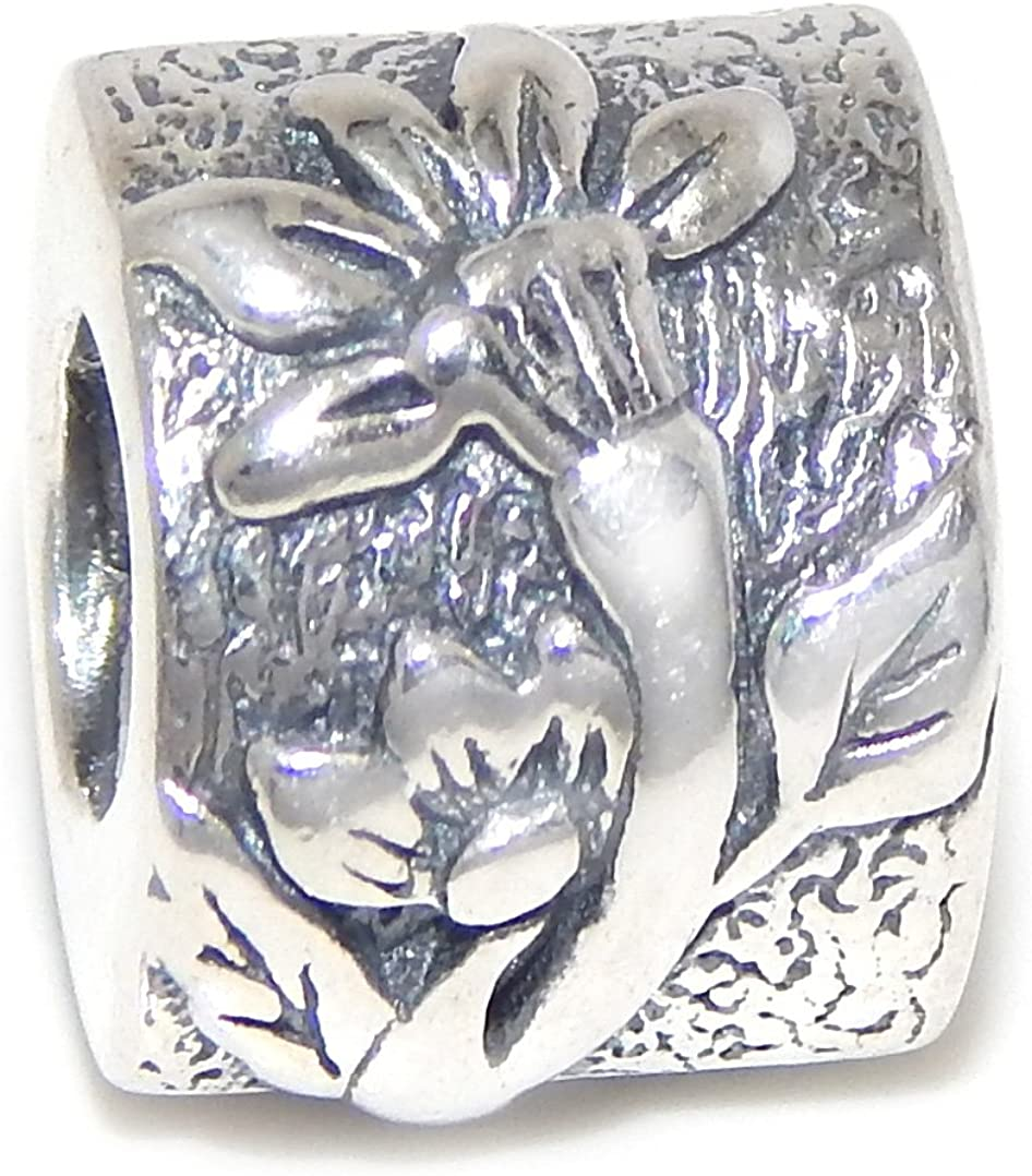 Solid 925 Sterling Silver Two Sided Flower Charm Bead for European Snake Chain Bracelets