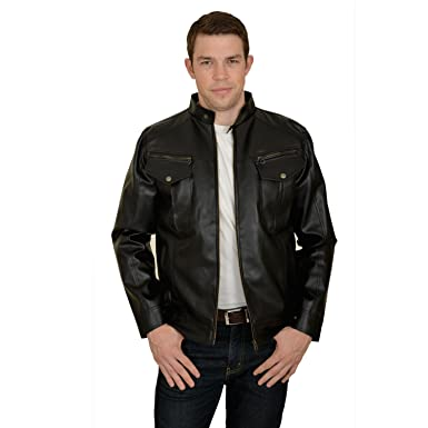 538090fd0 Urbano Fashion Black Leather Jacket with Full Sleeves