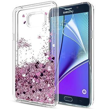 LeYi Funda Samsung Galaxy Note 5 Silicona Purpurina Carcasa con HD Protectores de Pantalla,Transparente Cristal Bumper Telefono Gel TPU Fundas Case ...