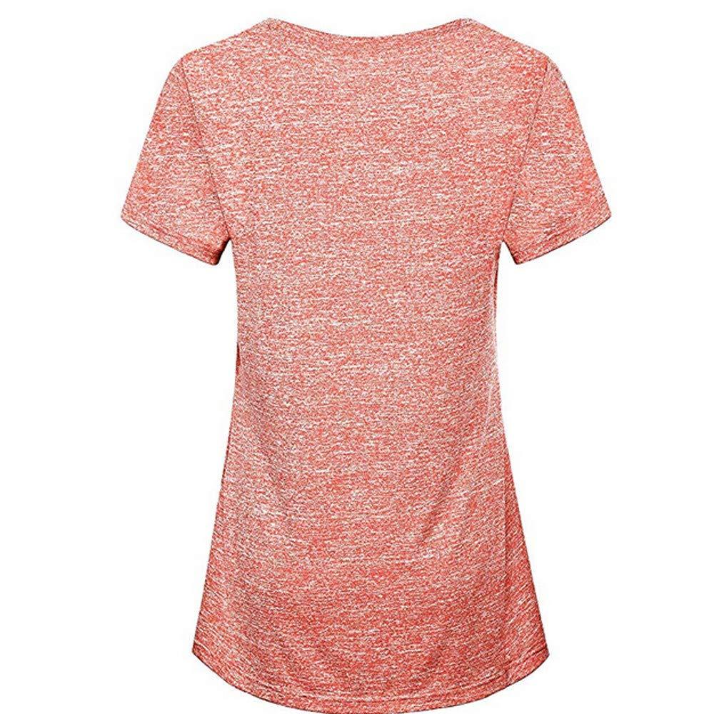 VRTUR Moda para Mujer Blusa Manga Corta Yoga Tops Ropa Deportiva Correr Entrenamiento Camiseta Stretch Cuello Llanura Chaleco: Amazon.es: Ropa y accesorios