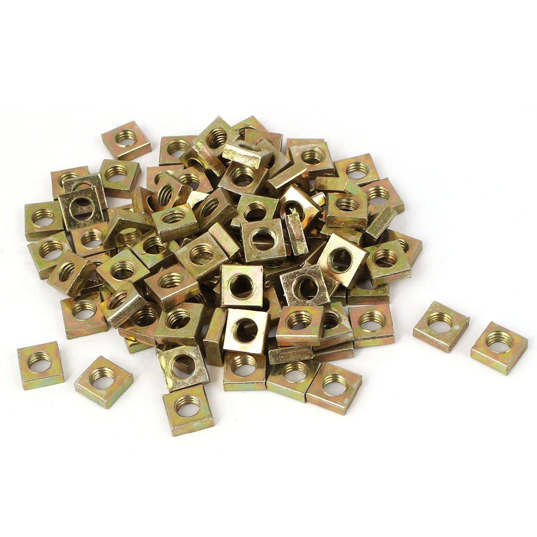 uxcell M3x5.5mmx2mm Zinc Plated Square Nuts Bronze Tone 100pcs