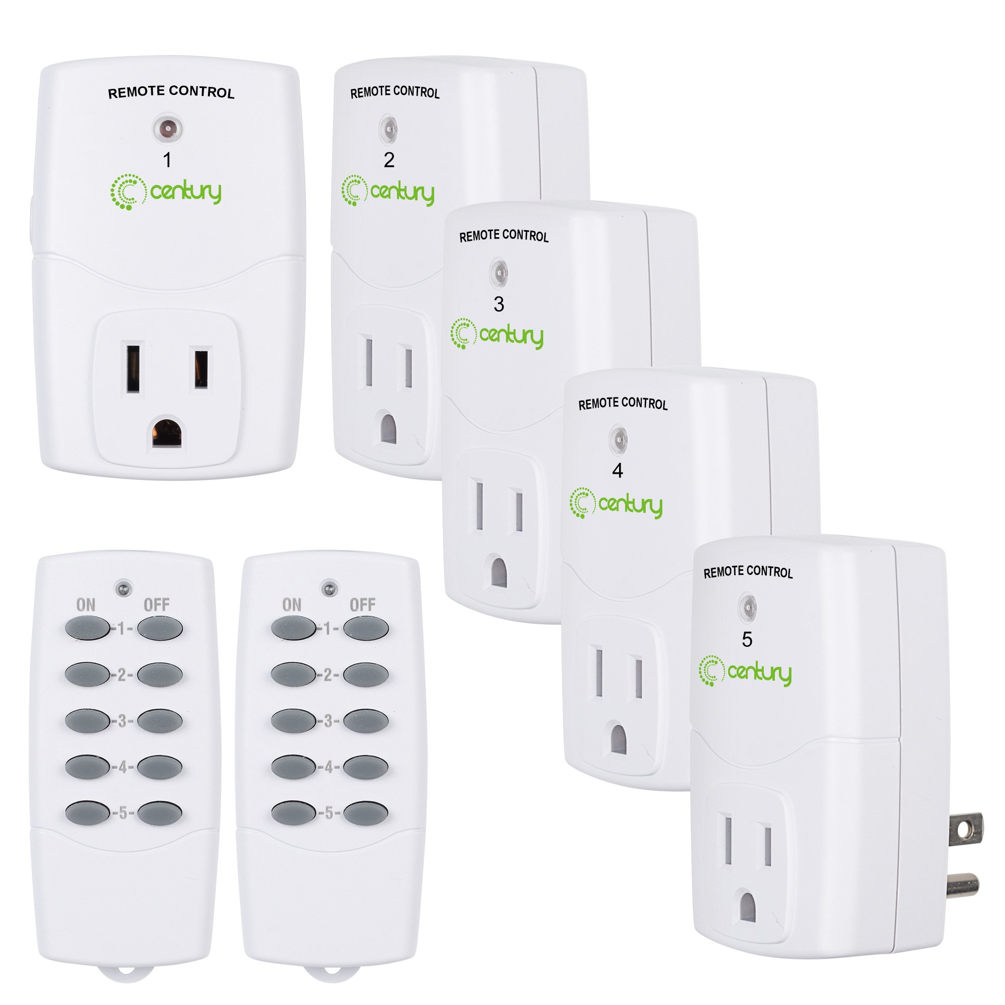 Century Mini Wireless Remote Control Outlet Switch Power Plug In for Household Appliances, Wireless Remote Light Switch, LED Light Bulbs, White (2 Remotes + 5 Outlets) Value Pack