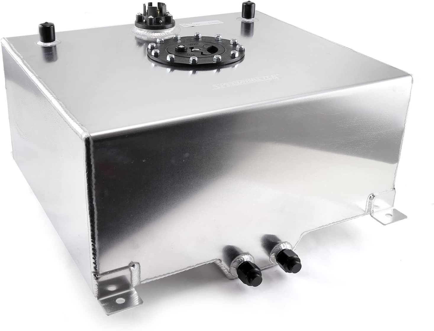 Silver Polished 15 GALLON UNIVERSAL FABRICATED FUEL CELL WITH 10-AN FITTINGS