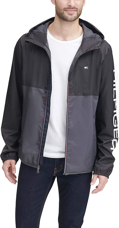 Tommy Hilfiger Men's Lightweight Active Water Resistant Hooded Rain Jacket