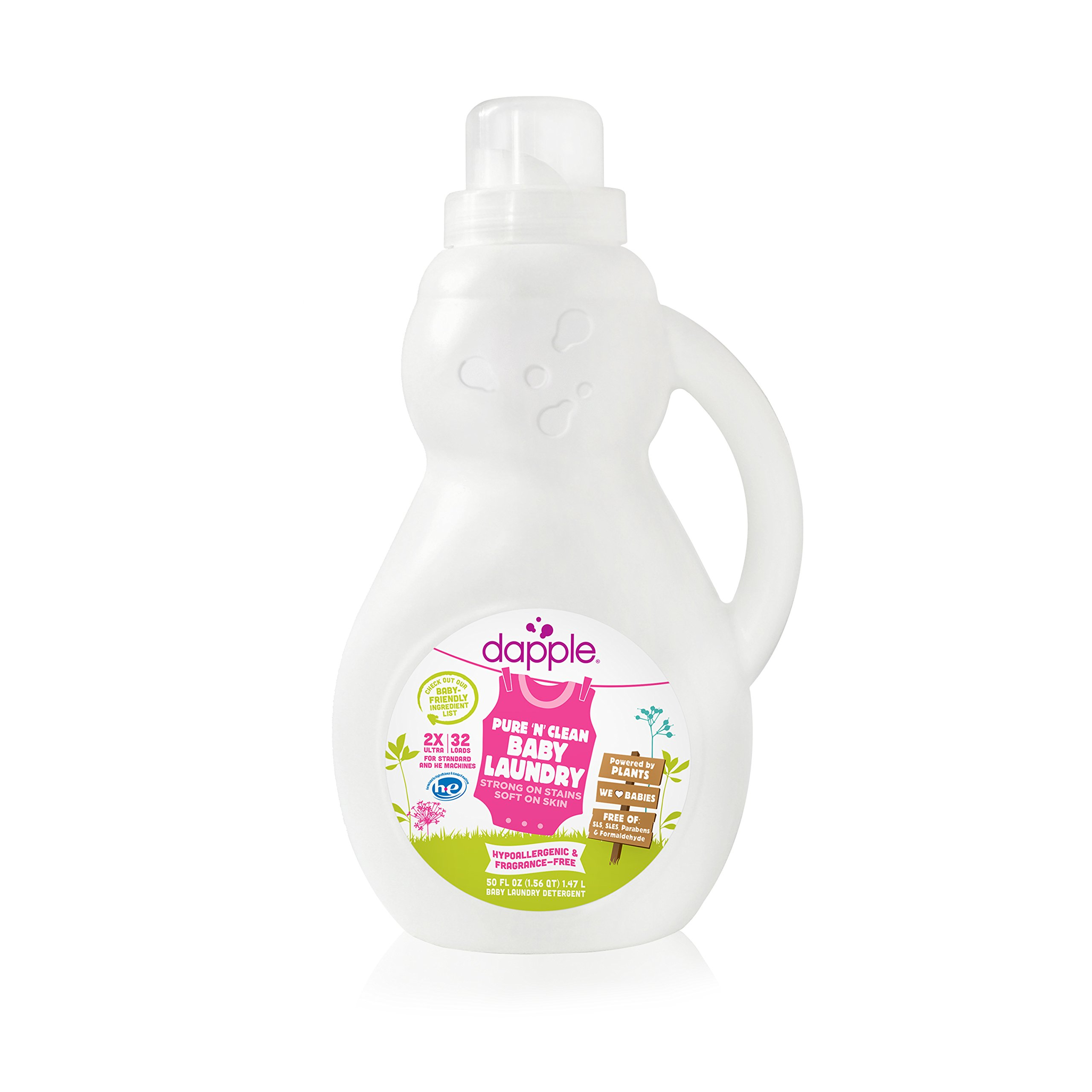 Dapple Baby Laundry Detergent, Fragrance Free, 50 Fluid Ounce (Pack of 4)