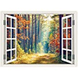 SUMGAR 3D Wall Mural Woodland Autumn Window Views Wall Art Self Stick Decals for No Window Rooms,48x36 inch