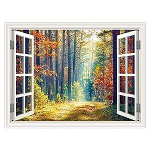 """SUMGAR 3D Wallpaper Window Scenery Woodland Autumn Views Mural Wall Art Self Stick Decals,36""""x48"""""""