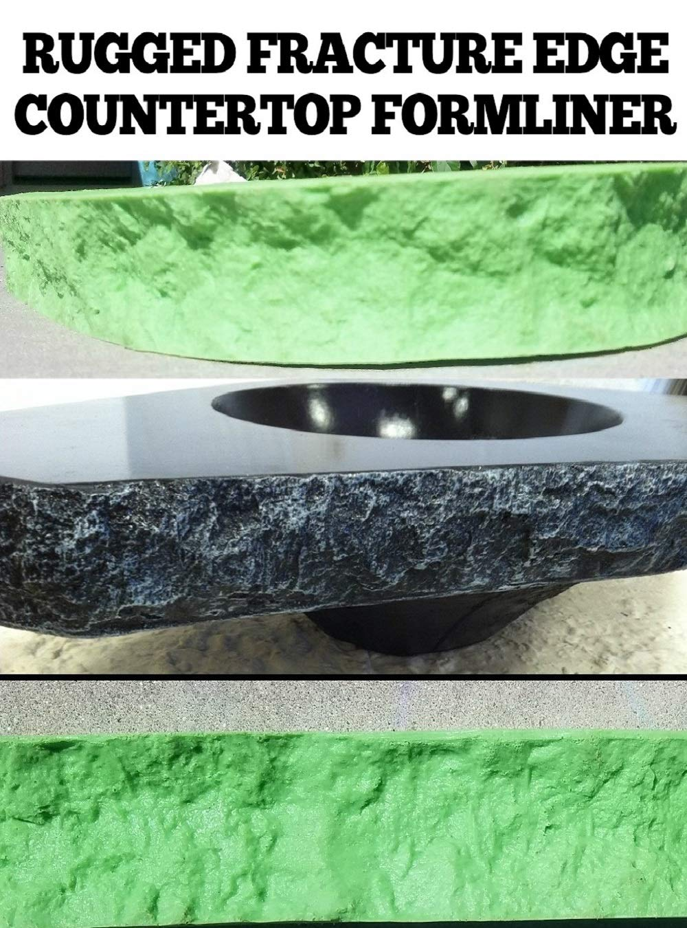 CONCRETE COUNTERTOP EDGE FORM LINERS - Rugged Fracture Edge, 2, 1/4'''' wide x 6' long
