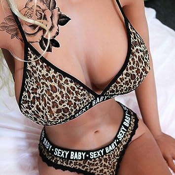 7fe2f203a63 Amazon.com    Underwear Women -Leopard Women beautiful Underwear Set Letter  Print Bra Bralette Lace Trim G   Beauty