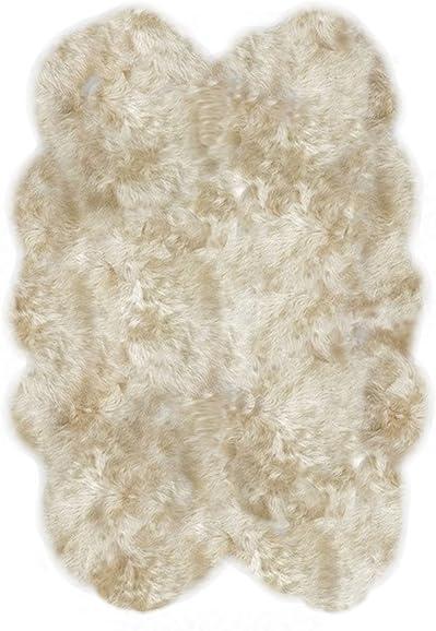 LAMBZY Shapes Sheepskin Champagne Four Pelts Area Rug