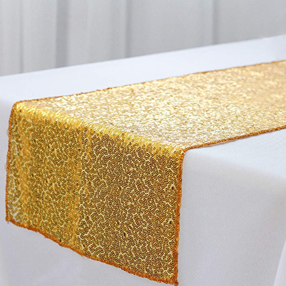 Tebery Gold Glitter Sequin Table Runners 12 by 108-Inch Table Linens for Wedding Banquet Party Decoration