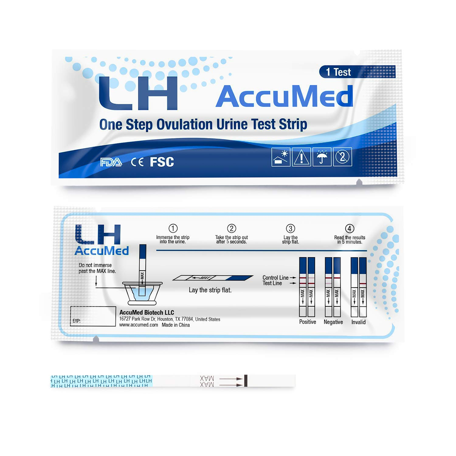 AccuMed Ovulation (LH) Test Strips Kit, Clear and Accurate Results, 99% Accurate, 100 Count by AccuMed