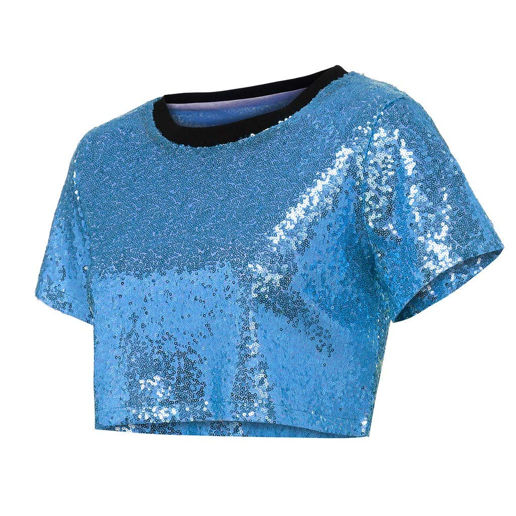 ZORE 👚 Mujer Ropa Women Sexy Tops Loose T-Shrit Sequin Glitter Blouses Casual Shirts: Amazon.es: Ropa y accesorios