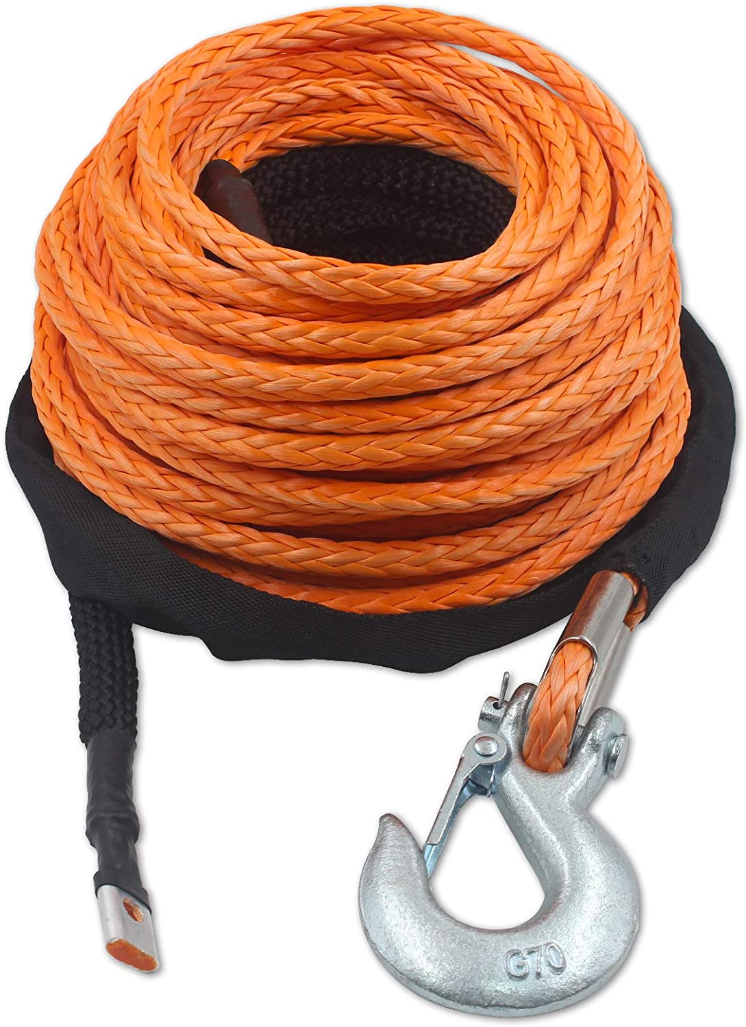 25,000 lbs Synthetic Winch Line Cable Rope with Black Protecing Sleeve TYT 3//8 x 100 ft Snap Hook and Rubber Stopper for 4x4//ATV//UTV//Jeep Advanced Synthetic Winch Rope Kit Orange
