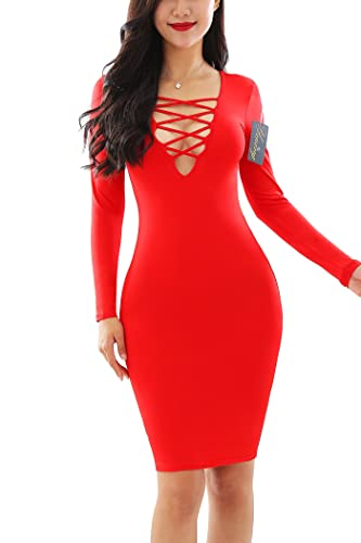 YMING Women Sexy Cross Bandage Dresses Long Sleeve Stretch Bodycon Club Dress