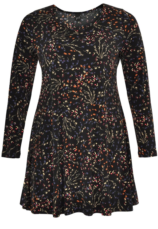 Yoek Damen Langarmshirt Print Floral Plus Size