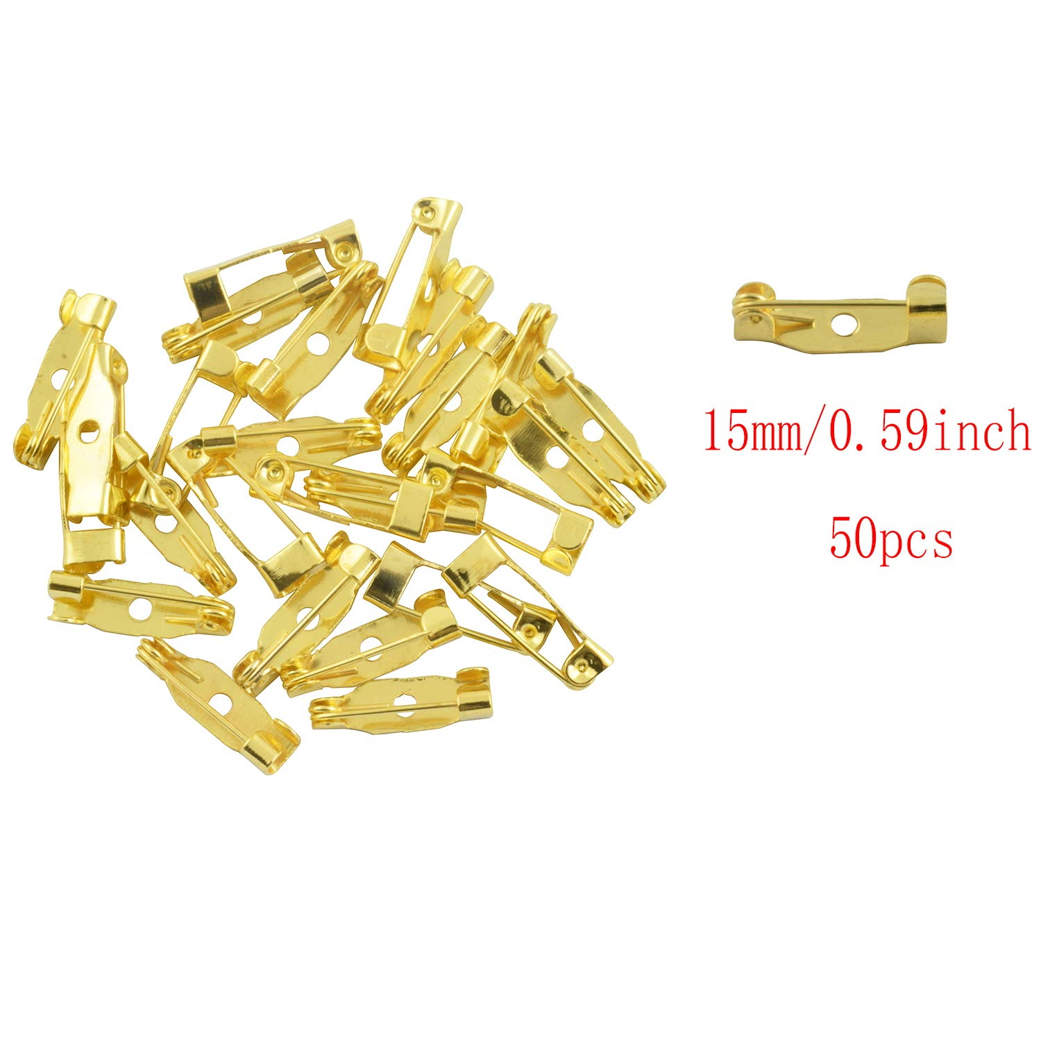Gold Partstock 150PCS Metal Bar Pins Brooch Back Pin Safety Clasp for Name Tags Jewelry Making DIY Crafts Accessories 1.5//2//2.5cm