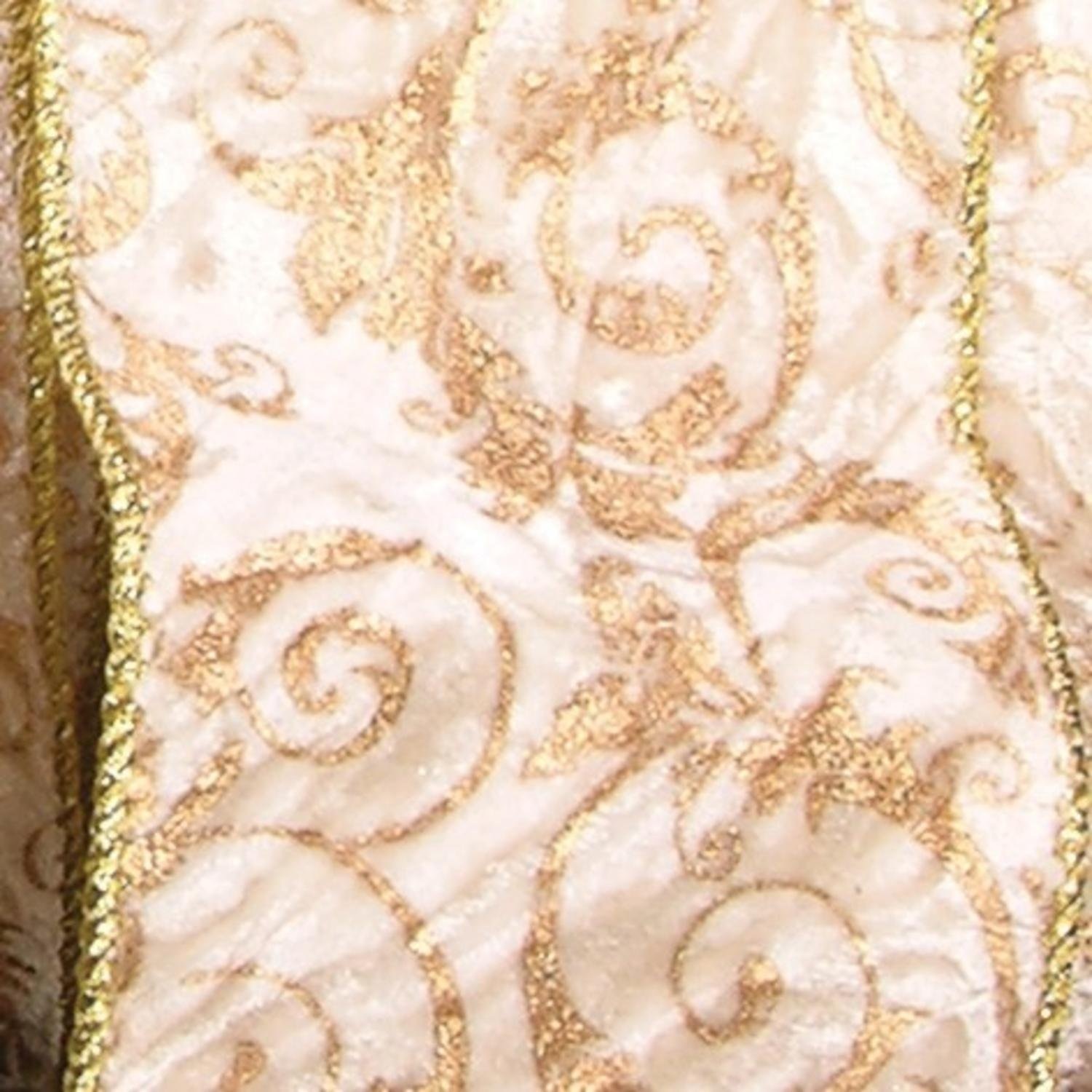 Ivory with Gold Cord Edge Wired Fabric Craft Ribbon 4'' x 20 Yards