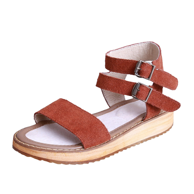 Smilun Women's Summer Sandals Strappy Style Round Peep Toe Summer Beach Sandals Open Toe Sandals Flip Flops Thongs Flat Anti Skid Slippers Camel US7.5