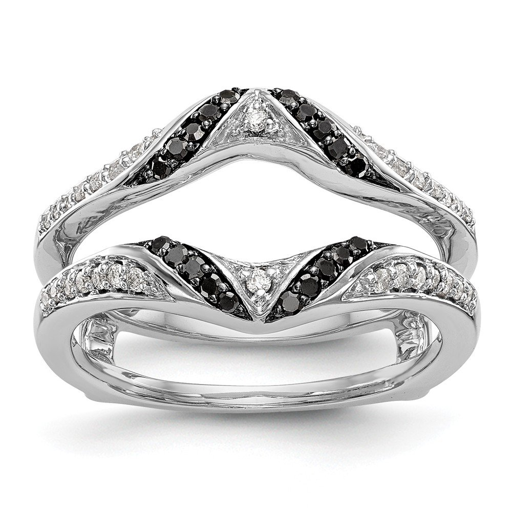 14K White Gold Black & White Diamond Enhancer Ring Guard Wrap 0.258 cttw