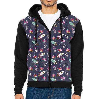 Men's Astronauts Rockets Balloons Space Athletic Pocket Hoodie Jackets Full Zip Long Sleeve Cozy Sweatshirt Midweight Sports
