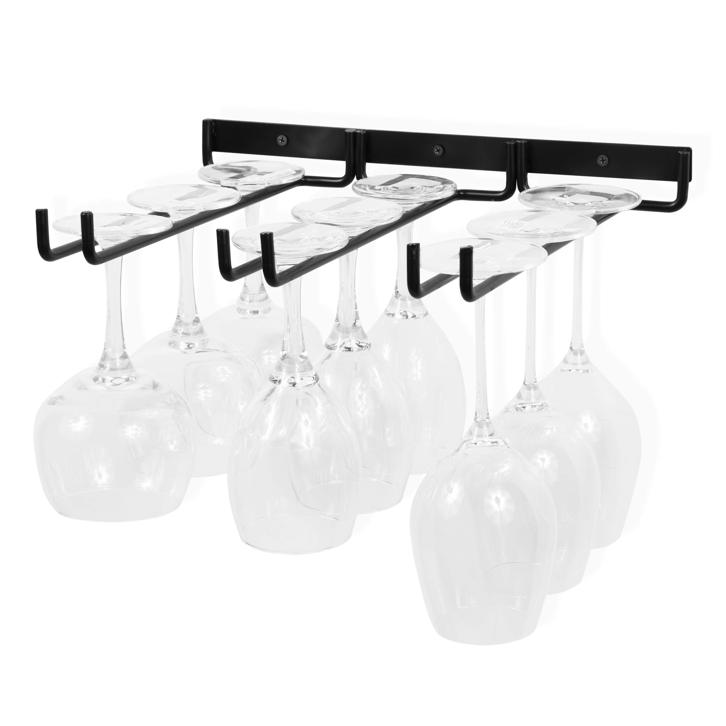 Wallniture Stemware Wine Glass Rack Wall Mountable Wrought Iron 3 Rows Black 13 Inch Deep by Wallniture