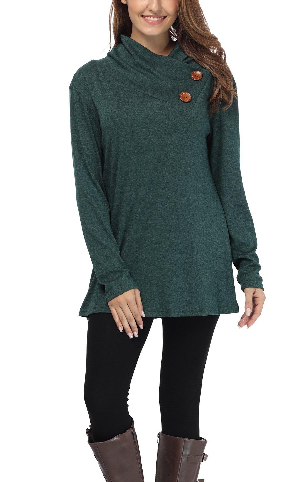 iGENJUN Women's Long Sleeve Lapel Neck Button Design Loose fit Casual Basic Tops,Green,M