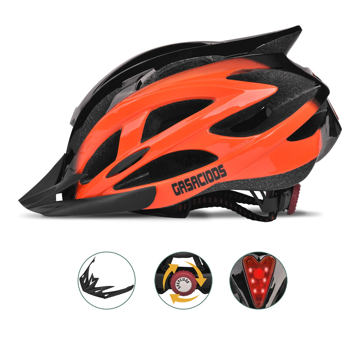GASACIODS Bike Helmet, CPSC Certified Adjustable Light Bicycle Helmet Specialized Cycling Helmet for Adult Men Women Road and Mountain Bike Helmet with Detachable Visor Rear LED Light