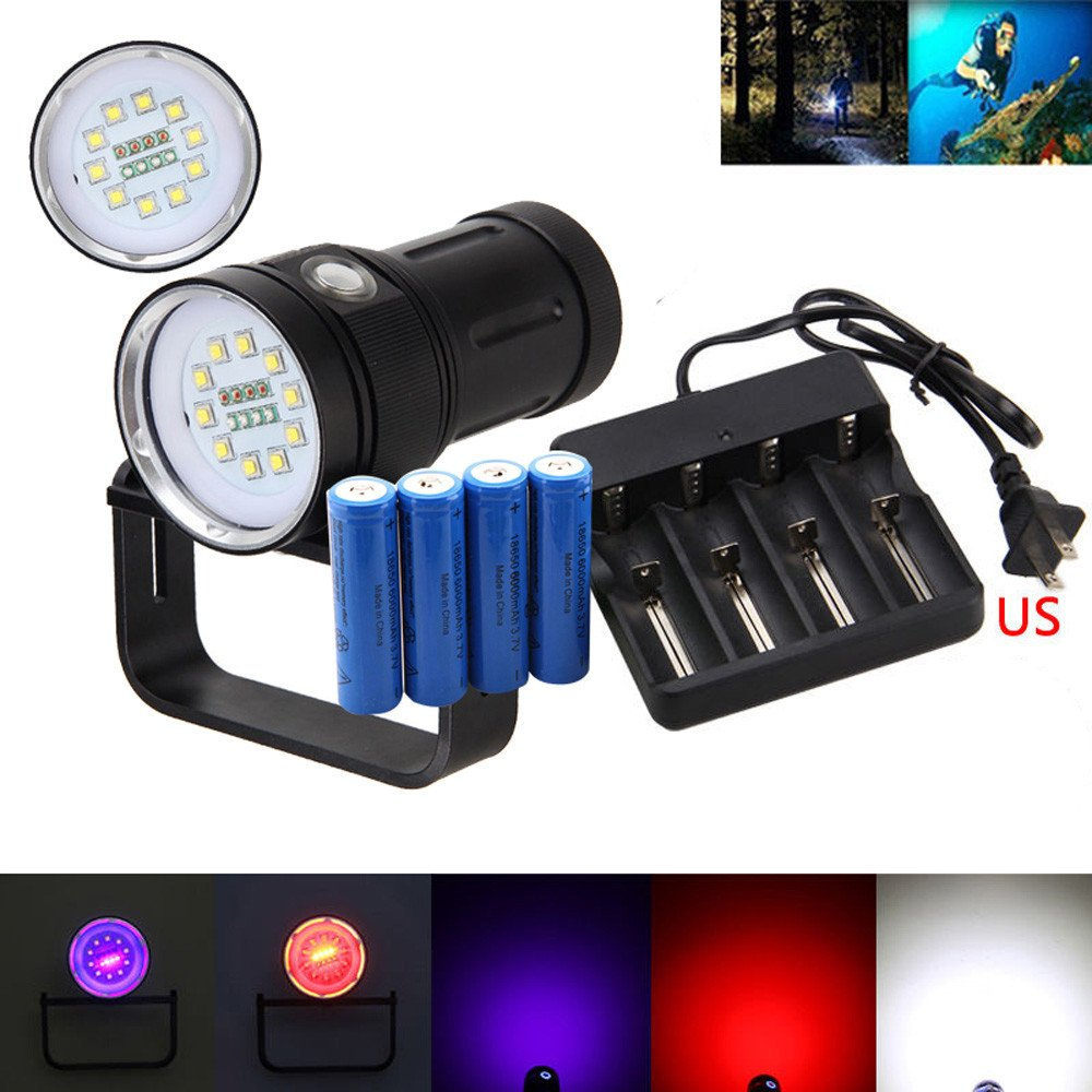 Diving Scuba Flashlight XM-L2 Waterproof and Adjustable, Professional Underwater Torch Lamp for Outdoor Under Water Sports, with Battery, Charger Included
