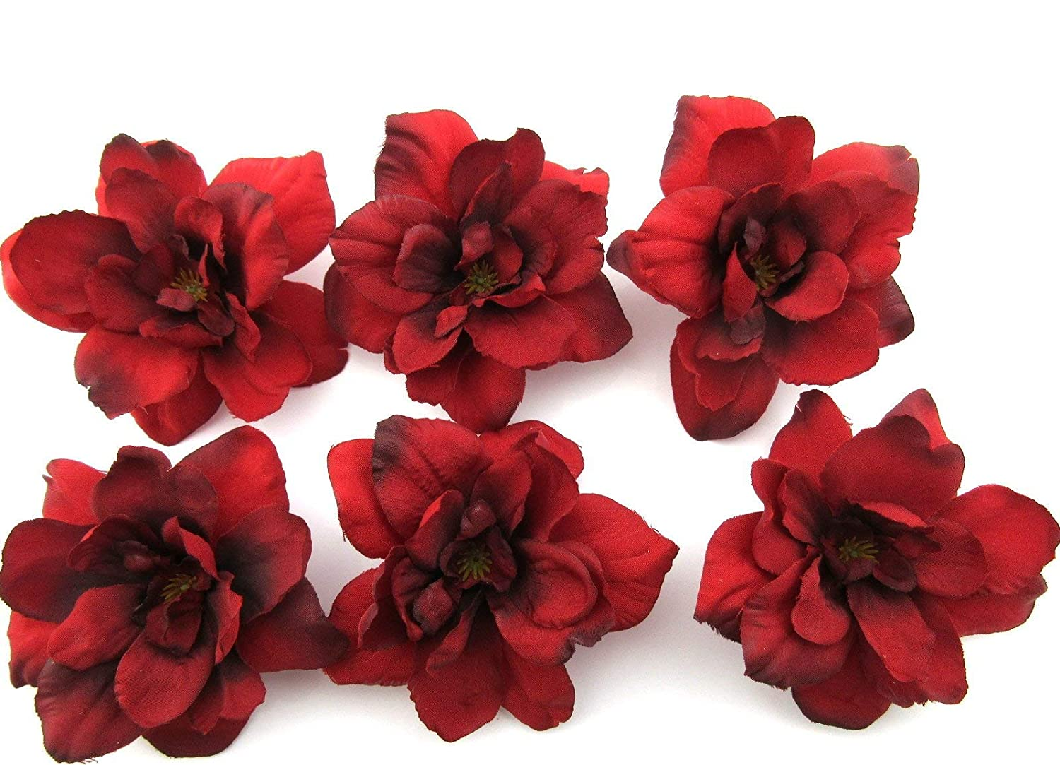 6 pc Lot Red Apple Blossom Silk Flower Hair Clips