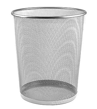 Mülleimer Papierkorb Abfallkorb Papiereimer Schwarz Silber Metall 35cm 19l Büro Büro & Schreibwaren Müll- & Abfalleimer