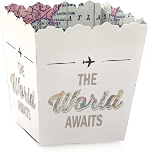 World Awaits - Party Mini Favor Boxes - Travel Theme Graduation Party Treat Candy Boxes - Set of 12