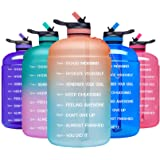 ADOLPH Large Half Gallon Motivational Water Bottle with 2 Lids (Chug and Straw), Leakproof BPA Free Tritan Sports Water…