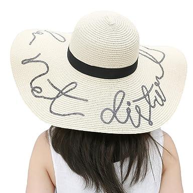 RIONA Women s Beach Large Wide Brim Paper Woven Floppy Sun Hat with Sequin  Slogan - White 3e772482582