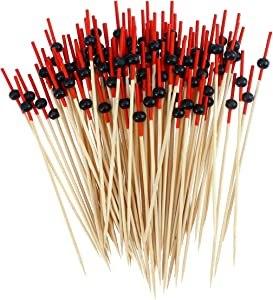 STOBOK Disposable Wood Food Picks Toothpicks Red Flat Beads for Cocktail Fruit Appetizer About 100pcs