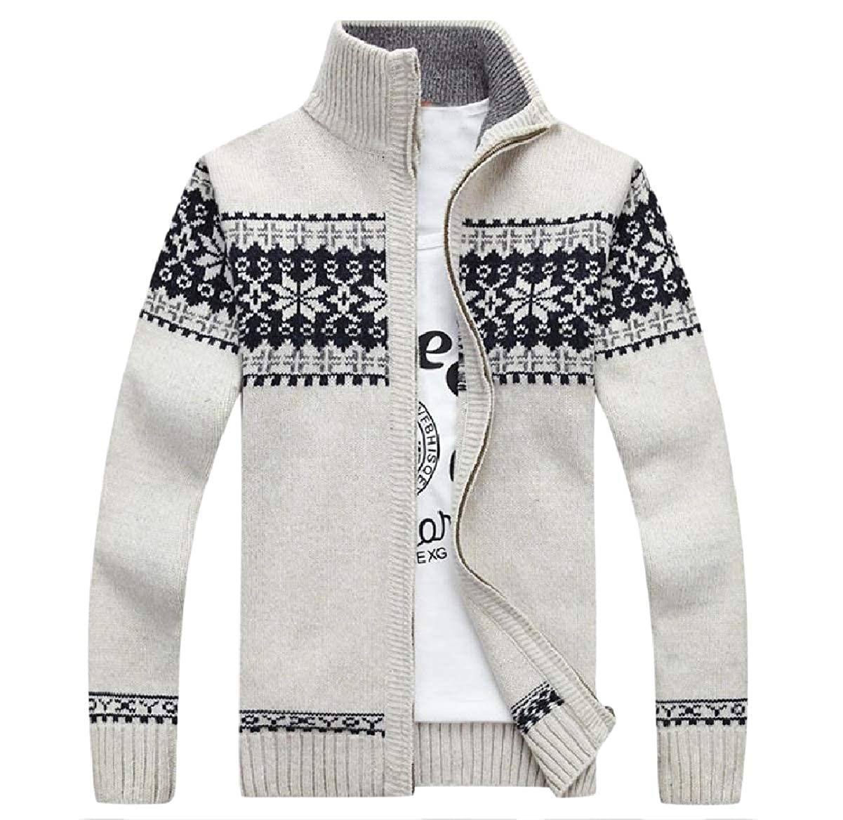 NestYu Men Knitted Sweater Relaxed Fit Full Zip Patterned Open-Front