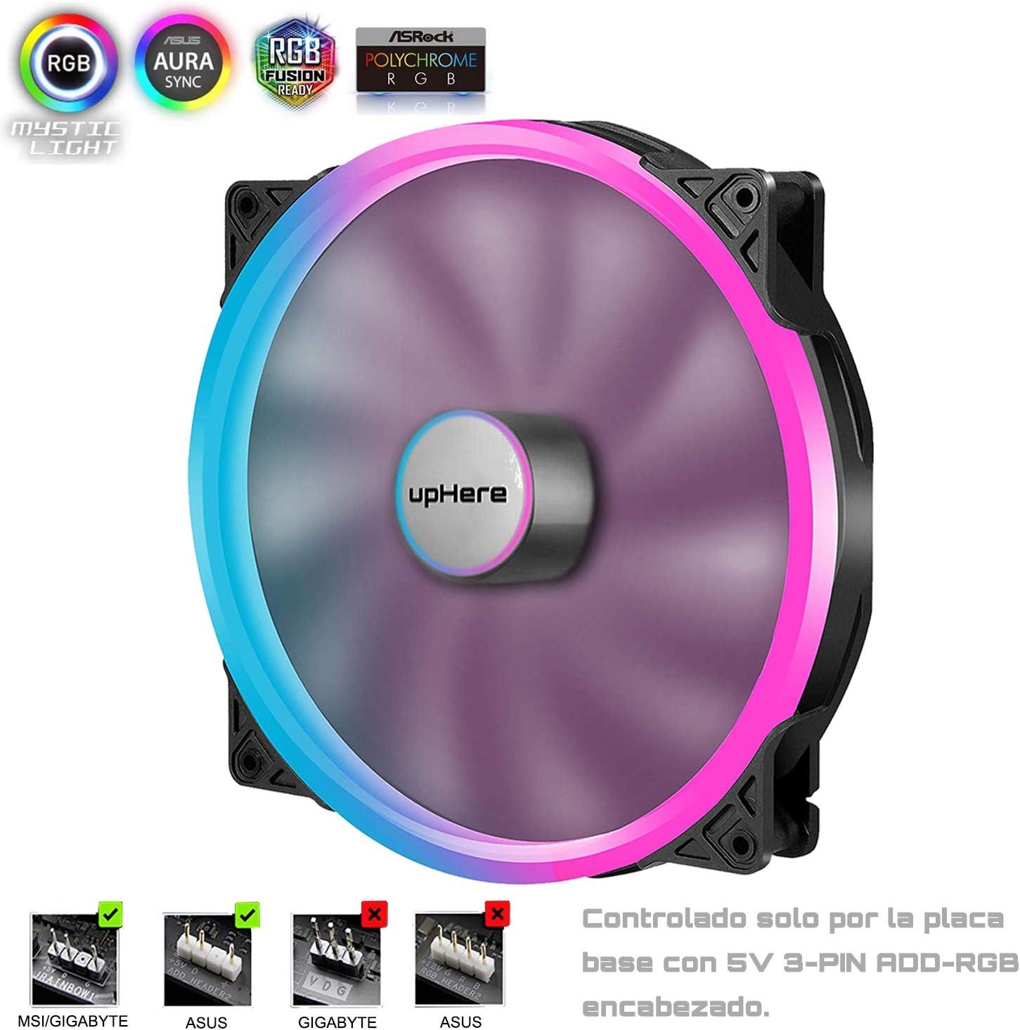 upHere 5V ARGB LED Ventilador para Caja de Ordenador PC Case Fan - Ventilador de 200mm (P200RGB)