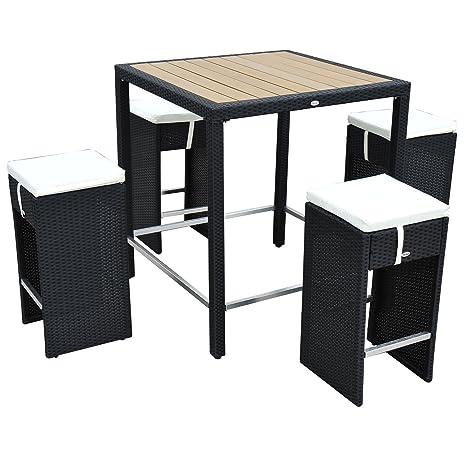 Homcom ENSEMBLE TABLE DE BAR+4 TABOURETS SALON JARDIN ...