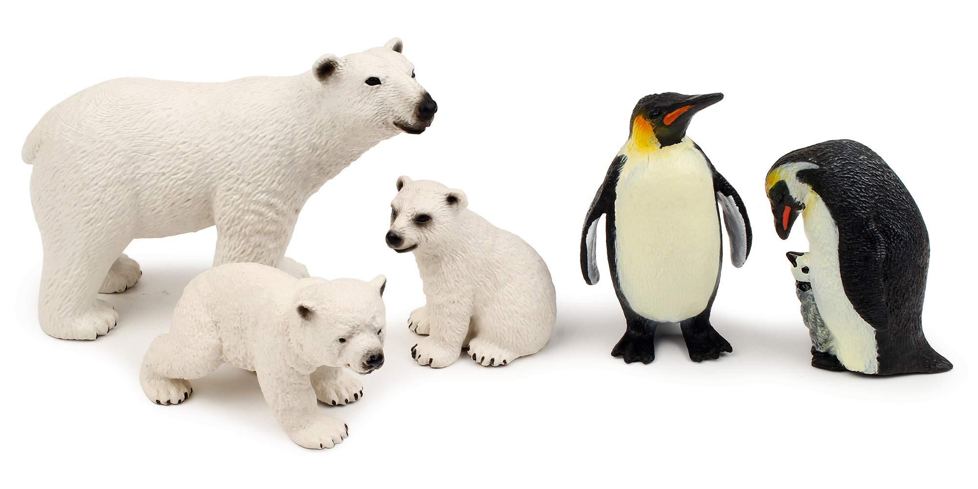 Polar Animal Toy Figurines Set, Includes Polar Bear Family & Emperor Penguin Family Figures