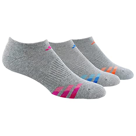 adidas de la mujer acolchado no show calcetines paquete de 3 - 104463, Heather Light
