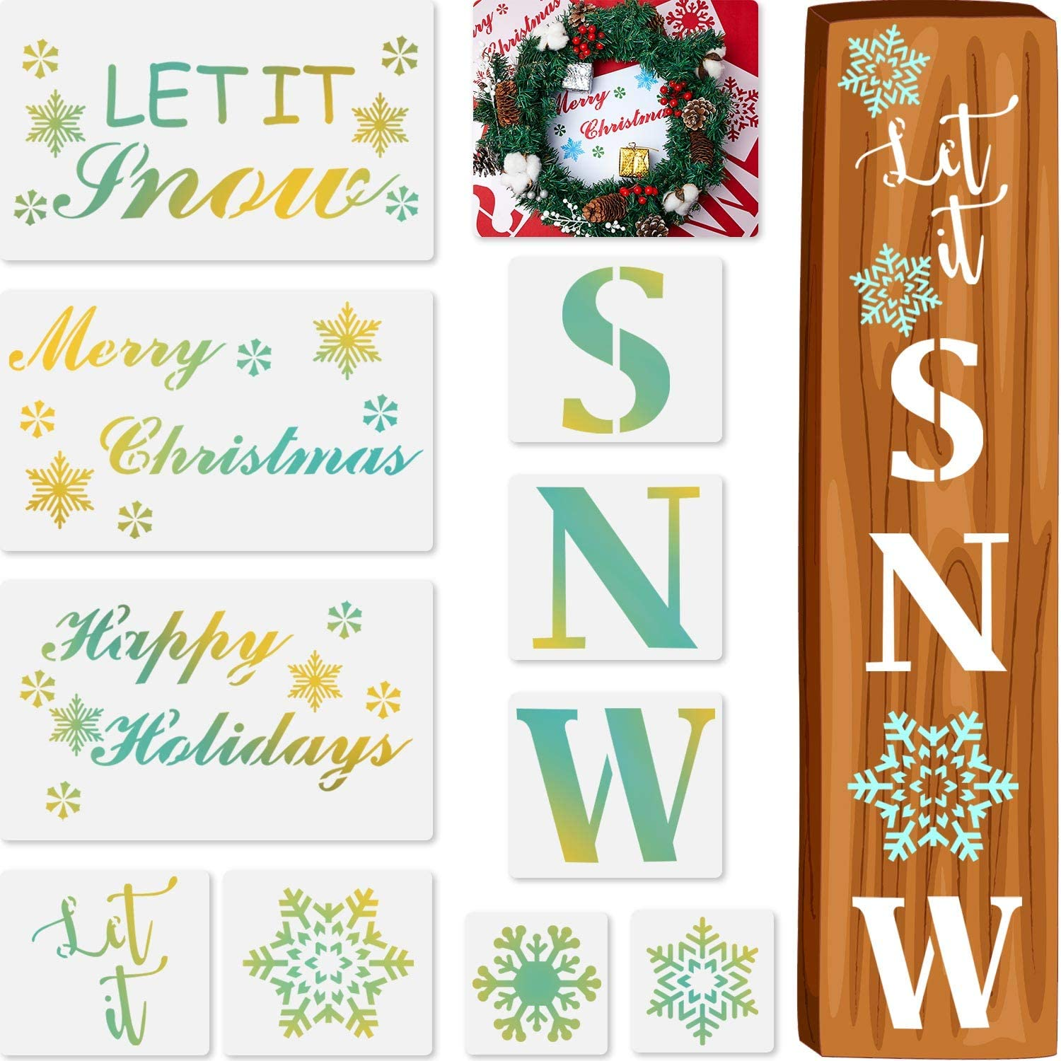 10 Pieces Let It Snow Stencils Christmas Stencils Porch Sign Stencil for Painting on Wood, Reusable Stencils for Winter Home Decor Craft Art