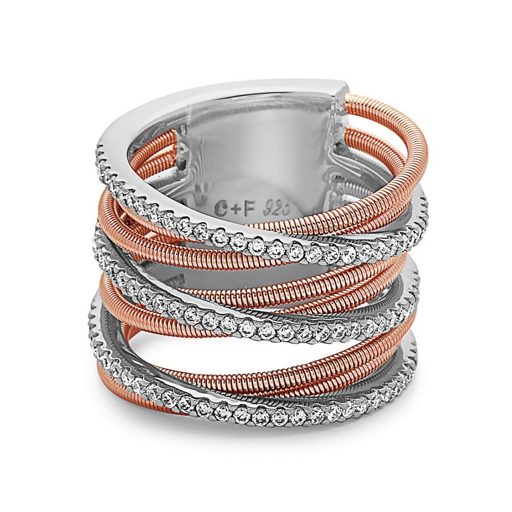 7 8 Fancy Interlocked Matte and Round Crystal Wire Layered Ring 925 Sterling Silver Crush Sizes 6