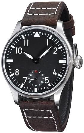 f73db6f79 Fanmis 44mm Black Dial Luminous Dark Brown Leather Strap Wrist Watch  Hand-wound Movement