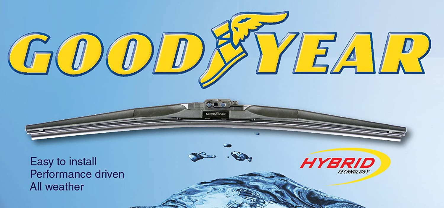 2008-2015 Toyota Highlander Replacement Wiper Blade Set/Kit (Set of 2 Blades) (Goodyear Wiper Blades-Hybrid) (2009,2010,2011,2012,2013,2014)