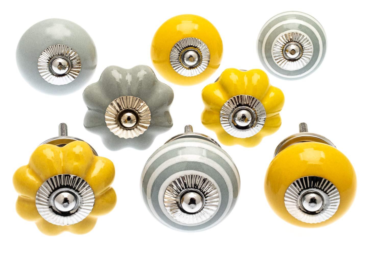 colore giallo senape e grigio pallido confezione da 8 knoa pomelli per credenze armadi e cassetti