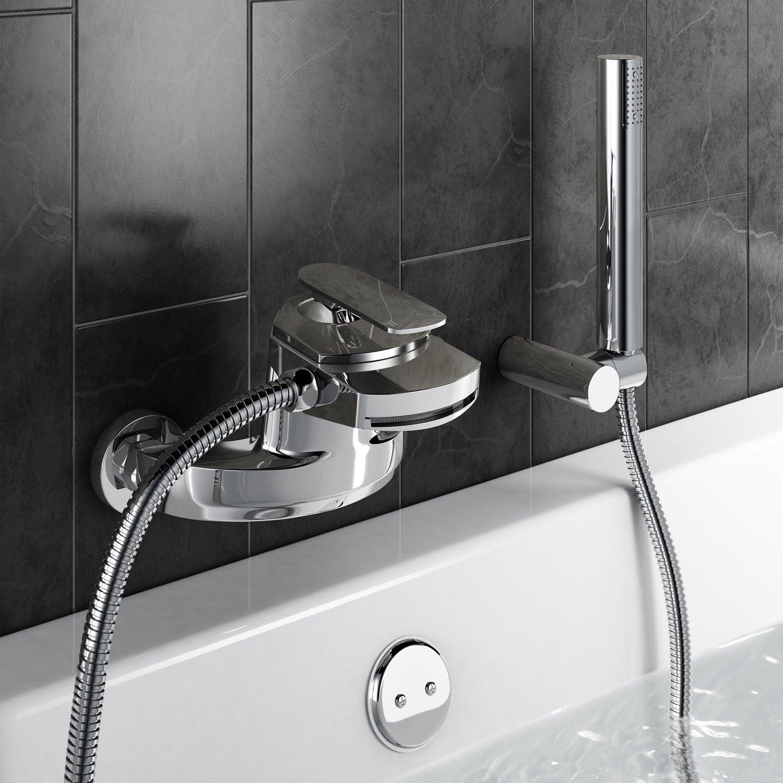 iBathUK | Modern Waterfall Bath Mixer Tap with Hand Held Shower Head Wall Set