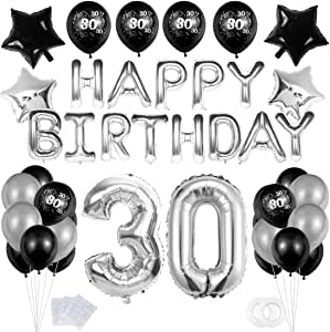 """30 Decoración Fiesta Negro plata Cumpleaños,""""Happy Birthday"""" Bandera Banner;Clásico Número 30 Globo;Balloon de Látex&Estrella para el Cumpleaños de 30 Años impresión para Niño Hombres Niña Mujer: Amazon.es: Hogar"""
