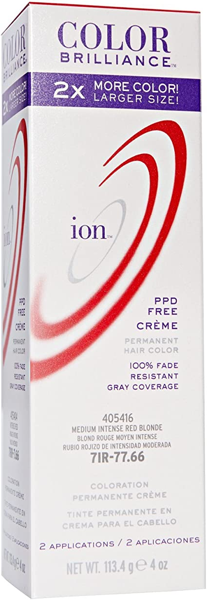 ion Color Brilliance Permanent Creme Hair Color 7IR Medium Intense Red Blonde by Ion