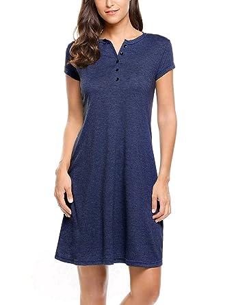 Zeagoo Damen Shirtkleid Rundhals Kurzarm Stretch Casual Kleid Sommerkleid  Freizeitkleider Blusenkleid Tunikakleid  Amazon.de  Bekleidung cc3611ac4d